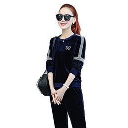 velvet sportswear set Australia - Velvet Sportswear Women 2 Pieces Sets 1902 New Fashion Long Sleeve Crew Neck Velour Pullover & Match Joggers Pants For Women 2 Piece Clothes