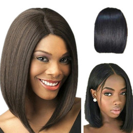 medium length human hair lace wig Australia - Bob Wig Straight Lace Front Human Hair Wigs For Black Women Short Middle Ratio Remy Hair 150% density