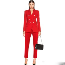 silver pant suits women NZ - Red Women Suits Women Work Clothes Women Custom Made Ladies Suit Business Suits Tuxedos Work Wear 2 Pieces Suits(Jacket+Pants)