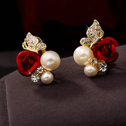 689cc6978 Earring studs pEarl dEsigns online shopping - Huang Neeky Pair Red Rose  Flower Imitation Pearl Plated