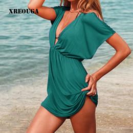 $enCountryForm.capitalKeyWord Australia - European Style Robe De Plage Summer Women Elastic Ice Swimwear Deep V-neck Solid Short Sleeves Beach Cover Up Y190727