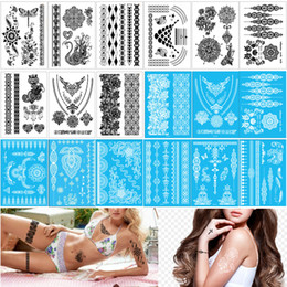 tattoo designs for legs NZ - 14.8*21cm YHB Black Henna Lace Temporary Tattoo Stickers Sexy Flower Butterfly Necklace Bracelet Jewelry Tattoos Arm Leg Designs for Women