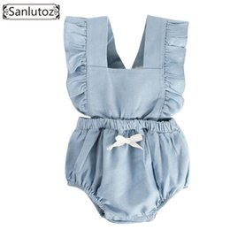 cute summer rompers Australia - Sanlutoz Newborn Girl Clothes Summer 2018 Baby Rompers Ruffle Cotton Infant Jumpsuit Toddler Clothing With Bow Princess J190524
