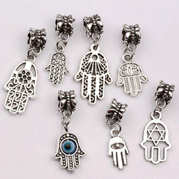 Hamsa Hand silver bracelets online shopping - Hot Sale Antique silver Alloy mix Hamsa Hand Dangle Bead Fit Charm Bracelet DIY Jewelry