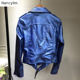 $enCountryForm.capitalKeyWord NZ - Handsome Rivet Leather Jacket Female Korean Autumn Winter New Slim Short PU Leather Jacket Motorcycle Coat Women Outfits