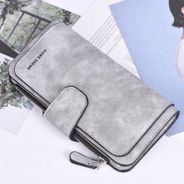 $enCountryForm.capitalKeyWord Australia - MAIOUMY Women's Bags Lady Solid Color Matte Wallets Long Section Three Fold Multi-Card Wallet Hand Purse Women Portafoglio Donna