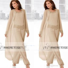 $enCountryForm.capitalKeyWord Australia - Champagne Three Piece Mother of the Bride Pant Suits with Long Jackets Long Sleeves Beaded Chiffon Mother Plus Size Wedding Guest Dress