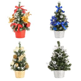 China 20cm Tabletop Artificial Christmas Tree Decorations Mini Pine Tree Multicolored Ball Five Star Flower Bowknot Party Ornament 7 supplier yellow flower linens suppliers