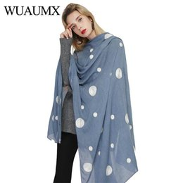 cotton scarves soft long Australia - Wuaumx NEW Designer Scarf Women Cotton Hijab Soft Thin Scarves Dot Pattern Scarfs Long Beach Shawl Wraps Foulard sjaal