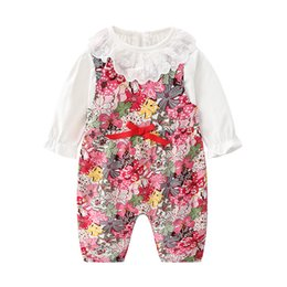 $enCountryForm.capitalKeyWord Australia - 2019 Autumn baby girls outfits kids lace hollow embroidery falbala lapel flare sleeve T-shirt+floral printed Bows jumpsuits 2pcs sets F8137