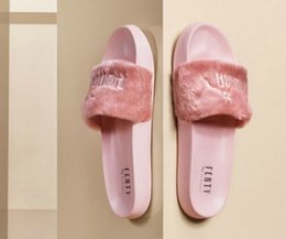 Girls Without Shoes Australia - Leadcat Fenty Rihanna Shoes Women Slippers Indoor Sandals Girls Fashion Scuffs Pink Black White Grey Fur Slides Without Box High Quality