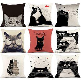 Black Cat Decor Australia - Cute Pillow Sofa Waist Throw Cushion Home Car Decor Cat Dog Cotton Vintage white and black