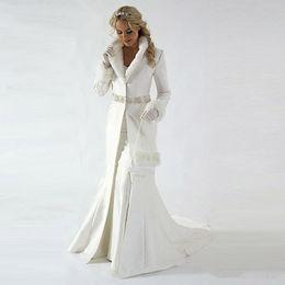 Wholesale Modern 2020 Winter Bridal Cloak Jacket Long Sleeves Fur Wedding coat Cute Shawl Coat Satin Fabric With Faux Fur Sequin Beaded
