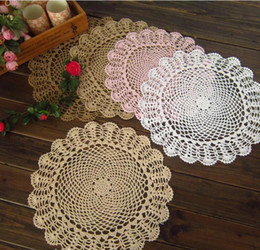 Rectangle Wedding Table Cloth Australia - 40cm DIY Round lace cotton table place mat cloth crochet placemat pad coaster cup mug Christmas doily kitchen wedding decor R173 D19010902