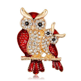 couple christmas gifts Australia - Trendy Enamel Crystal Owl Couple Brooch Imitation Rhinestone Red Animal Brooch Pins Christmas Gifts Jewelry Accessories for Men and Women