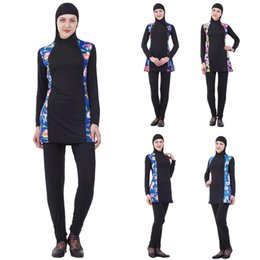 Wholesale muslim swimwear women online – 2PCS Arab Full Cover Women Swimwear Muslim Beachwear Bathing Modest Islamic Swimsuit Flower Printed Long Sleeve Conservative New
