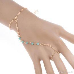 $enCountryForm.capitalKeyWord UK - 10pcs lot Fashion Chain Bracelet Punk Women Metal Hand Harness Chain Beads Slave Finger Ring Boho Jewelry