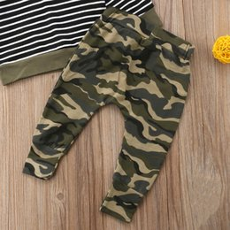 hoodies t shirt outfits Canada - 2PCS Toddler Kid Baby Boys Girls 2018 T-shirt Hoodies Striped Top+Camo Pants Outfits Casual Clothes Autumn Camouflage Set