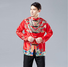 fc8836017 Traditional Man Chinese style Dragon Gown Top Shirt Male Red Black Yellow  Tang Suit Vintage Clothes jacket For overseas Chinese