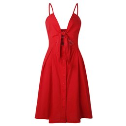 $enCountryForm.capitalKeyWord UK - Spaghetti Strap Summer Dress Women Bow 2019 Sexy Vintage A-line Boho Elegant V Neck Vestido Beach Print Red Vacation Sundress Q190520