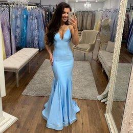 Robe soiRee cRystal online shopping - Simple V neck Light Sky Blue Evening Dresses Mermaid Formal Evening Party Gowns Full Length Robe De Soiree