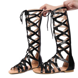6f4b3b1745d8 WISSTT Womens Sandals Knee High Cut Out Lace Up Ladies Flat Gladiator  Summer Shoes Casual Plus Size