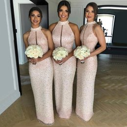 Discount high mermaid wedding dress bling - Bling Beaded Sequined Luxury Bridesmaid Dresses Sexy keyhole High Neck Backless Long Maid of Honor Gowns Wedding Guest E
