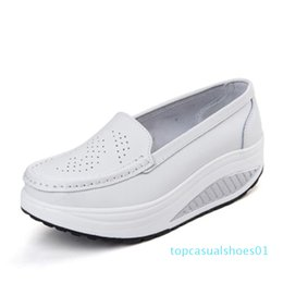 pink nurse shoes UK - QSR spring genuine leather mother casual woman shoes swing shoes white nurse shoes slip-resistant plus size platform t01