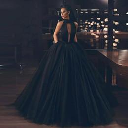 $enCountryForm.capitalKeyWord NZ - Elegant Black Puffy Skirt Evening Dresses High Neck Pleat Layered Skirt Prom Dress Floor Length Party Pageant Gowns