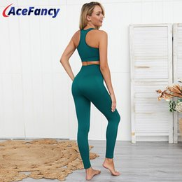 womens white yoga pants UK - 2 piece Set Yoga Tank Top Seamless Leggings Womens Sports Suit Gym Set Women ZC2146 Gym Clothing Sport Clothes Women Activewear