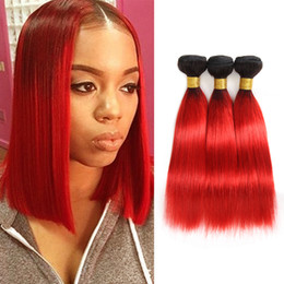 Discount black red ombre hair weave - Dressmaker Hair Ombre Peruvian Straight Hair 3 Bundles Black to Hot Red Virgin Human Hair Extensions Mixed Length