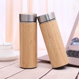 Thermos insulaTed coffee mugs online shopping - Natural Bamboo Tumbler ml ml Stainless Steel Liner Thermos Bottle Vacuum Flasks Insulated Bottles Coffee Tea Mug Bamboo Cup