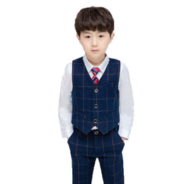 ef311a57a Kids 3PCS Vest+Pants+Tie Boys Formal Suit Gentleman Wedding Dress Party  Wear Children Graduation Tuxedo Costume Clothing Set