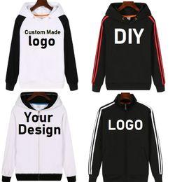 Logo Jackets Wholesale Canada - NEW Customize Mens Hoodies DIY Print LOGO Design Hoodie Fleece Thicken Coat Jacket Sweatshirts Wholesalers Drop Shipper