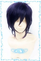 Wig Purple Mixed Australia - 211 Noragami Yato Short Purple Black mix Cosplay Wig Free Wig Cap