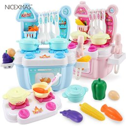 $enCountryForm.capitalKeyWord Australia - wholesale Kitchen Set Plastic Simulation Play House Cute Role Play Playsets Cooking 1 Set Bench Toys Accessories for Children Kids