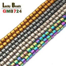 $enCountryForm.capitalKeyWord NZ - stone Natural Stone 2*2mm Column Hematite For Jewelry Making 15inch 4colors Spacer Beads Making Bracelet