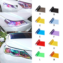wholesale film cartoon NZ - High Quality Auto Lamp Stickers Car Styling Tailorable Car Headlight Taillight Fog Light Film Vinyl Tinting Light Film 12 Colours
