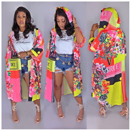 Wholesale Women Casual Hoodies Coat Shawl Floral Print Shirt Shawl Kimono Club Cardigan 1 2 Sleeve Loose Cover Up Blouse Plus Size Clothes S-2XL