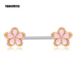 $enCountryForm.capitalKeyWord NZ - 316L Stainless Steel Flower Nipple Barbell Helix Piercing Sexy Bar Rings Body Jewelry Pircing Jewellery Women Gift