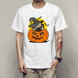 $enCountryForm.capitalKeyWord Australia - Pumpkin Halloween pug dog T shirt summer short sleeve T-shirt for men and women