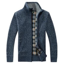 Wholesale plus size red wool coat resale online - Mens Autumn Winter Sweater Coats Velvet Thick Warm Fur Wool Plus Size XL Zipper Cots Stand Collar Cardigan