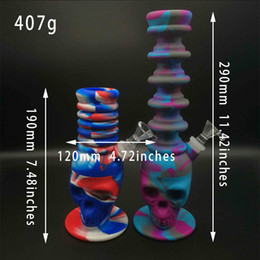 $enCountryForm.capitalKeyWord Australia - 1PC silicone bong Tall recycler oil rigs glass water bong big skull percolator silicone glass smoking water pipes