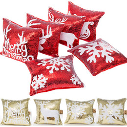 sequin cushions covers NZ - Double Sequin Christmas Pillow Case Cover Snowflake Reindeer Pillowcase Home Sofa Car Cushion cover Xmas Decoration Without Core XD21529