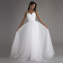 $enCountryForm.capitalKeyWord Canada - Spaghetti Straps Satin Tulle Beach Wedding Dress 2018 Summer Wedding Gown Sexy Bride Dress White Ivory