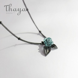 Necklaces Pendants Australia - Thaya Genuine S925 Silver Blue Rose Flower Crystal Pendant Necklace Plant Jewelry Ladies For Necklace Women Punk Style Y19051603