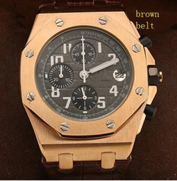 royal brown watches Australia - 42MM Royal Oak Offshore Leather Band Gold Case Mens Watch Fine Workmanship Man Watches Quartz Chronograph Wristwatches With Working Subdials