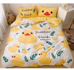 bedding suite Australia - Super soft baby velvet fabric double-faced fleece ins style cute bed suite for children bedding sets full queen size King size Yellow duck