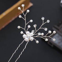 Crystal Heads Australia - New bride handmade pearl crystal hairpin pin U-clip hair accessories Explosive cross-border headwear Hot head flower