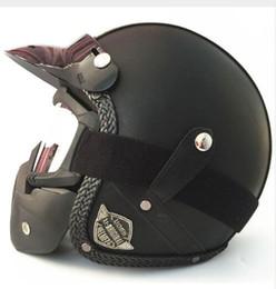 Xxl Motorcycle Half Helmets Australia - HOT sale Open Face Half PU Leather Helmet Moto Motorcycle Helmets vintage Motorbike Headgear Casque Casco For Harley helmet T